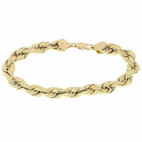 "Mens Ladies Hollow Rope Link Bracelet 10k Yellow Gold Diamond Cut 4mm 9"" Inches"