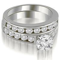 3.10 cttw. 14K White Gold Cathedral Channel Set Round Cut Diamond Bridal Set