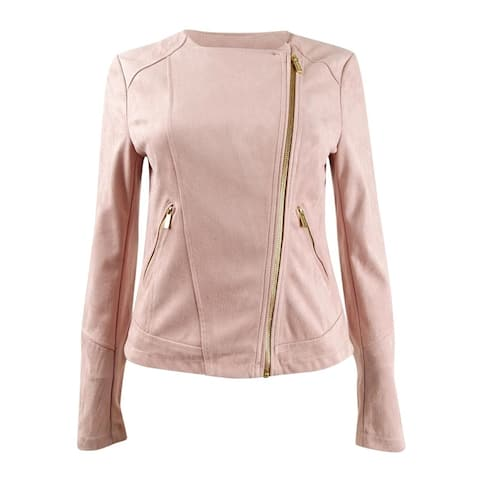 Calvin Klein Women's Faux-Suede Jacket (XS, Blush)
