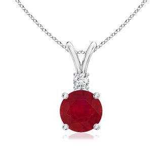 Angara V-Bail Round Ruby Solitaire Pendant with Diamond - Red