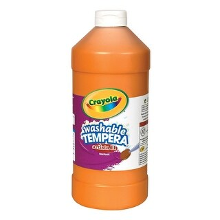 Crayola Artista II Non-Toxic Washable Tempera Paint, 1 pt Squeeze Bottle, Orange