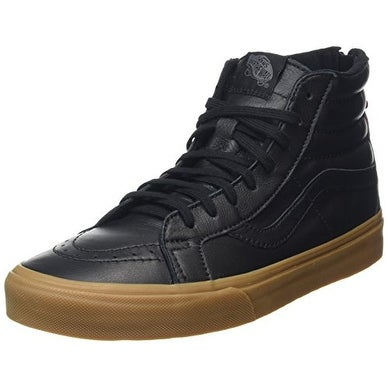 Vans Hiking Sk8-Hi Reissue Zip Sneakers (Black/Gum) Mens Leather High Shoes 12