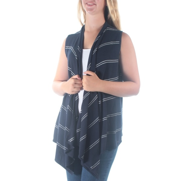 f2619c0f78af5 Shop Womens Navy Striped Sleeveless Open Cardigan Vest Top Size M ...