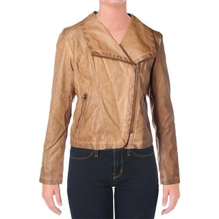 Bagatelle Womens Jacket Faux Leather Zip-Front