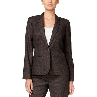 Calvin Klein Womens One-Button Blazer Glen Plaid Notch Collar - 0