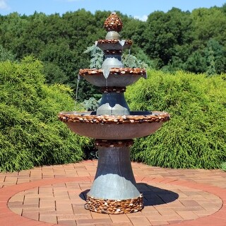 Sunnydaze 3-Tier Outdoor Water Fountain with Pebbled Edge and LED Rope Lights