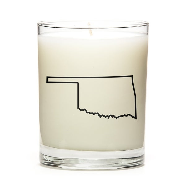 Custom Candles with the Map Outline Oklahoma, Pine Balsam