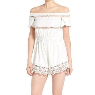 Missguided NEW White Women's Size 16 Off Shoulder Crochet Trim Romper