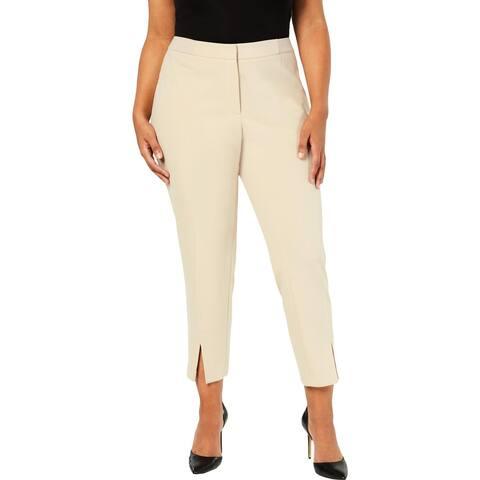 Calvin Klein Womens Plus Straight Leg Pants Split Hem Mid-Rise