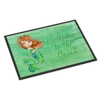 Carolines Treasures BB8515MAT Mermaid Welcome Green Indoor or Outdoor Mat - 18 x 27 in.