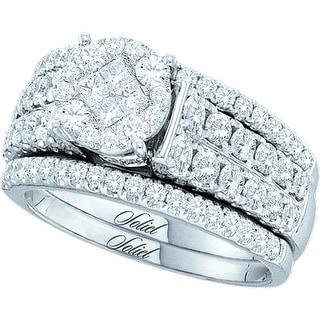 14k White Gold Natural Princess Diamond Invisible-set Womens Wedding Bridal Ring Set 1.50 Cttw