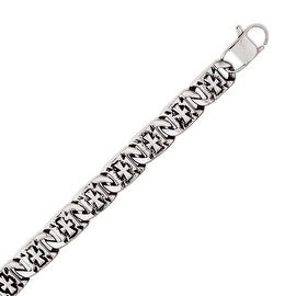 Chisel Stainless Steel Antiqued Links with Crosses Bracelet