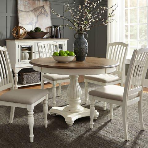 The Gray Barn Arctic Arrow Nutmeg and White 5-piece Pedestal Table Set