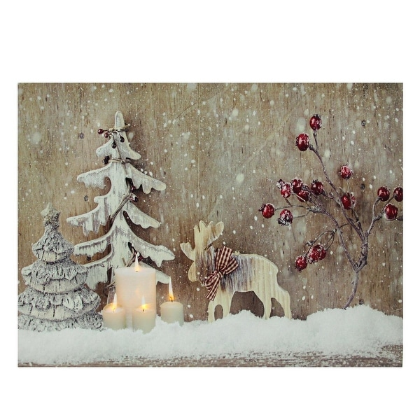 "LED Lighted Rustic Reindeer, Candles & Berries Christmas Canvas Wall Art 12"" x 15.75"""