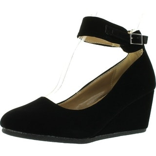 Forever Link Women's Patricia-03 Ankle Strap Faux Suede Wedge Pumps - Black Suede