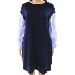 ECI NEW Blue Women's Size 2 Contrast Stripe Sleeve Sweater Dress