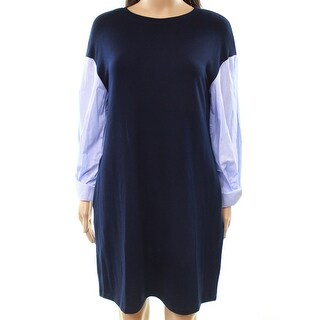 ECI NEW Blue Women's Size 4 Contrast Pinstriped Sleeve Sweater Dress