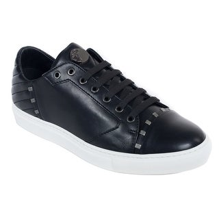 Versace Collection Men Black Metal Rivets Leather Low Top Sneaker