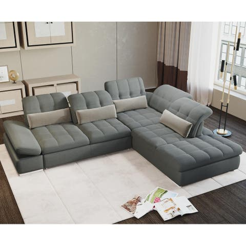Barcelona 4 pc Left Arm Sofa bed Grey Sectional with storage By Sofacraft