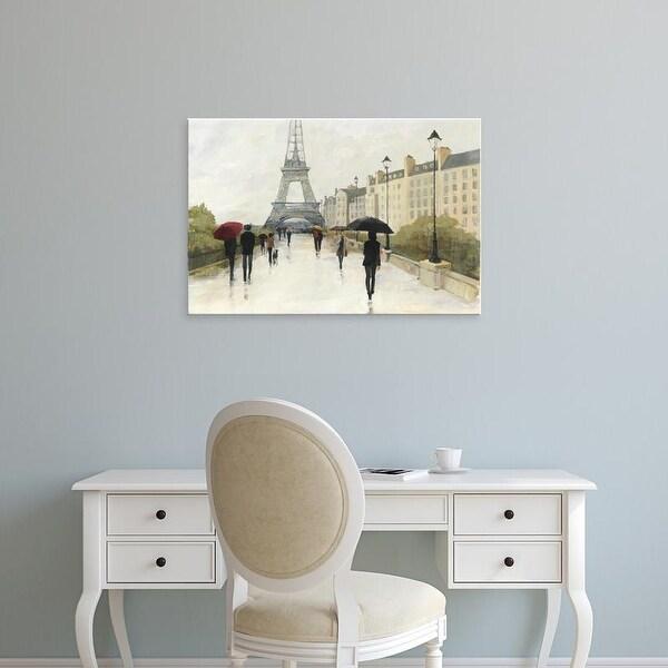 Easy Art Prints Avery Tillmon's 'Eiffel in the Rain Marsala Umbrella' Premium Canvas Art