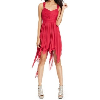 Hailey Logan Womens Juniors Party Dress Mesh Overlay Open Back