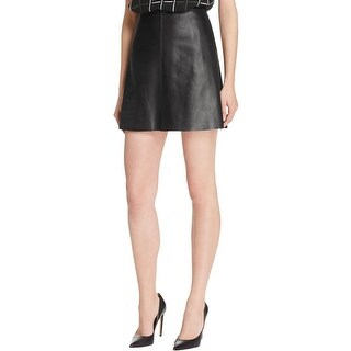 Theory Womens Irenah A-Line Skirt Lambskin Leather Mini