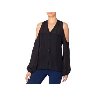 Catherine Malandrino Womens Blouse Cold Shoulder Button-Down