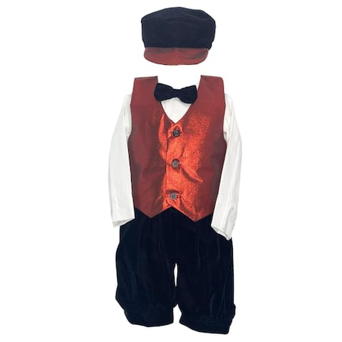Lito Red Poly Metallic Vest Knicker Hat Christmas Outfit Little Boys