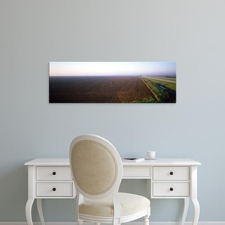 Easy Art Prints Panoramic Images's 'Plowed field, Clay County, Illinois, USA' Premium Canvas Art