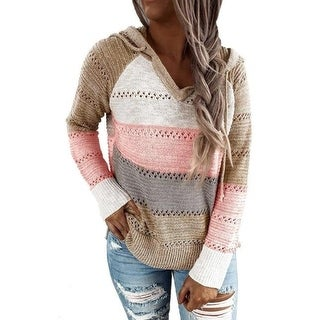 Link to V-Neck Hooded Color-Block  Striped Sweater Similar Items in Women's Sweaters