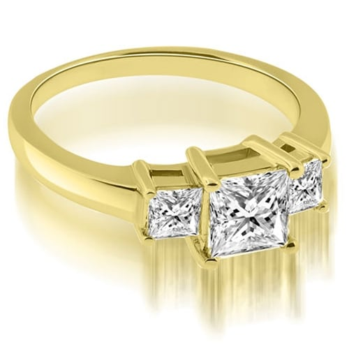 0.90 cttw. 14K Yellow Gold Basket Three Stone Princess Diamond Engagement Ring