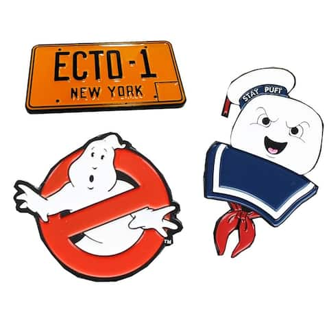 Ghostbusters Enamel Pin 3-Pack Set: No Ghosts, Stay Puft, Ecto-1 (NYCC'17 EXCL) - Multi