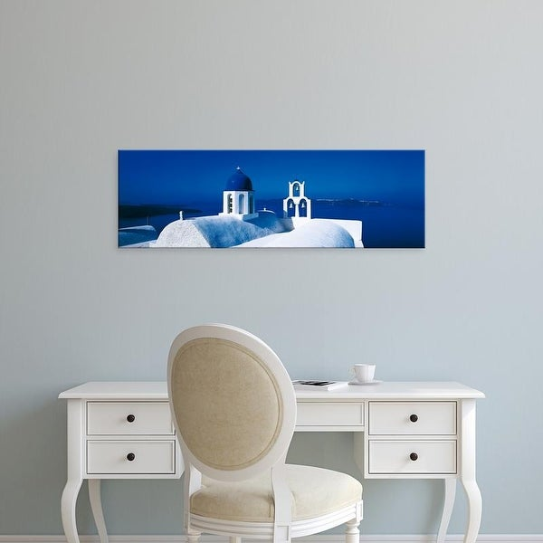 Easy Art Prints Panoramic Images's 'Church Aegean Sea Santorini Greece' Premium Canvas Art