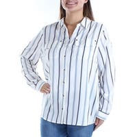 CHARTER CLUB Womens Ivory Pocketed Striped Cuffed Collared Button Up Top  Size: S