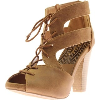 Qupid Womens Bailey Faux Suede Stacked Heel Platform Heels - 5.5 medium (b,m)