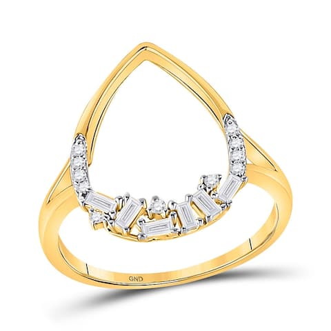 14k Yellow Gold Womens Round Diamond Scattered Teardrop Ring 1/5 Cttw