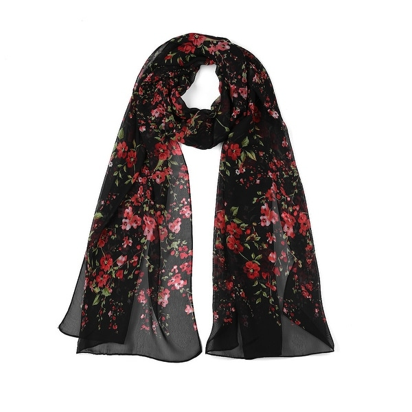 Long Chiffon Beach Scarf Silk Scarves Floral Scarves for Women Black
