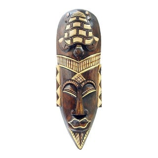 Hand Carved 20 Inch Indonesian Jenggot Wall Mask With Sea Turtle Design