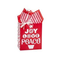 "Pack of 25, Cub Peppermint Holiday Bags 8 x 4.75 x 10.25"" For Christmas Packaging, 100% Recyclable,"
