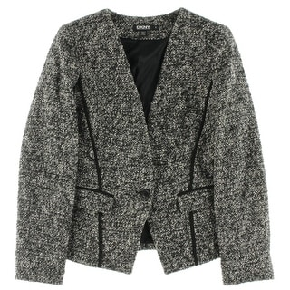 DKNY Womens One-Button Blazer Tweed Long Sleeves - 6