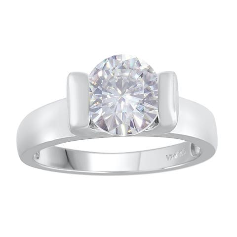 Sterling Silver with Moissanite Solitaire Ring