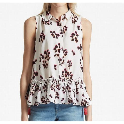 French Connection White Ivory Eva Floral Crepe Women's 2 Blouse