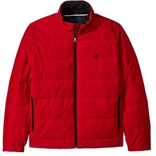Nautica NEW Red Mens Size XL Full Zip Quilted Down Blend Puffer Jacket