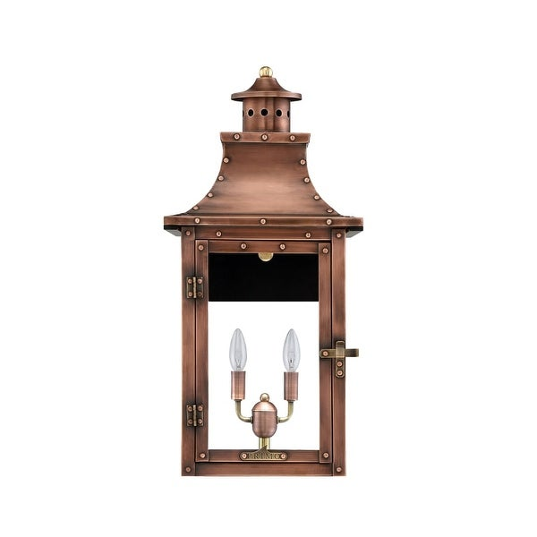 """Primo Lanterns RL-21E Royal 13"""" Wide 2-Light Outdoor Wall-Mounted Lantern in Electric Configuration - Copper - n/a"""