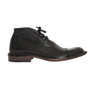 Dolce & Gabbana Black Leather Ankle Chukka Boots