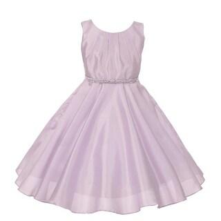 Little Girls Lilac Glitter Stone Belt Shantung Flower Girl Dress 2T-6