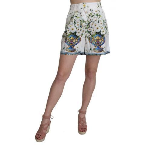 Dolce & Gabbana White High Waist Floral Print Majolica Women's Shorts - it38-xs