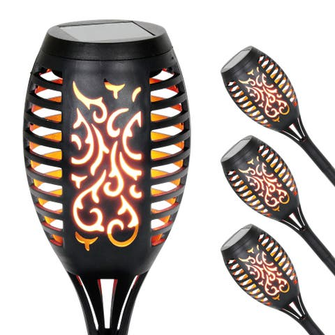 Exhart Set of 4 Solar Dancing Flame Torch Garden Stakes- Small, 3 inches by 20 Inches