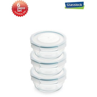 Glasslock Airtight Round Food Container 6 Piece Set (0.73cups/173ml)