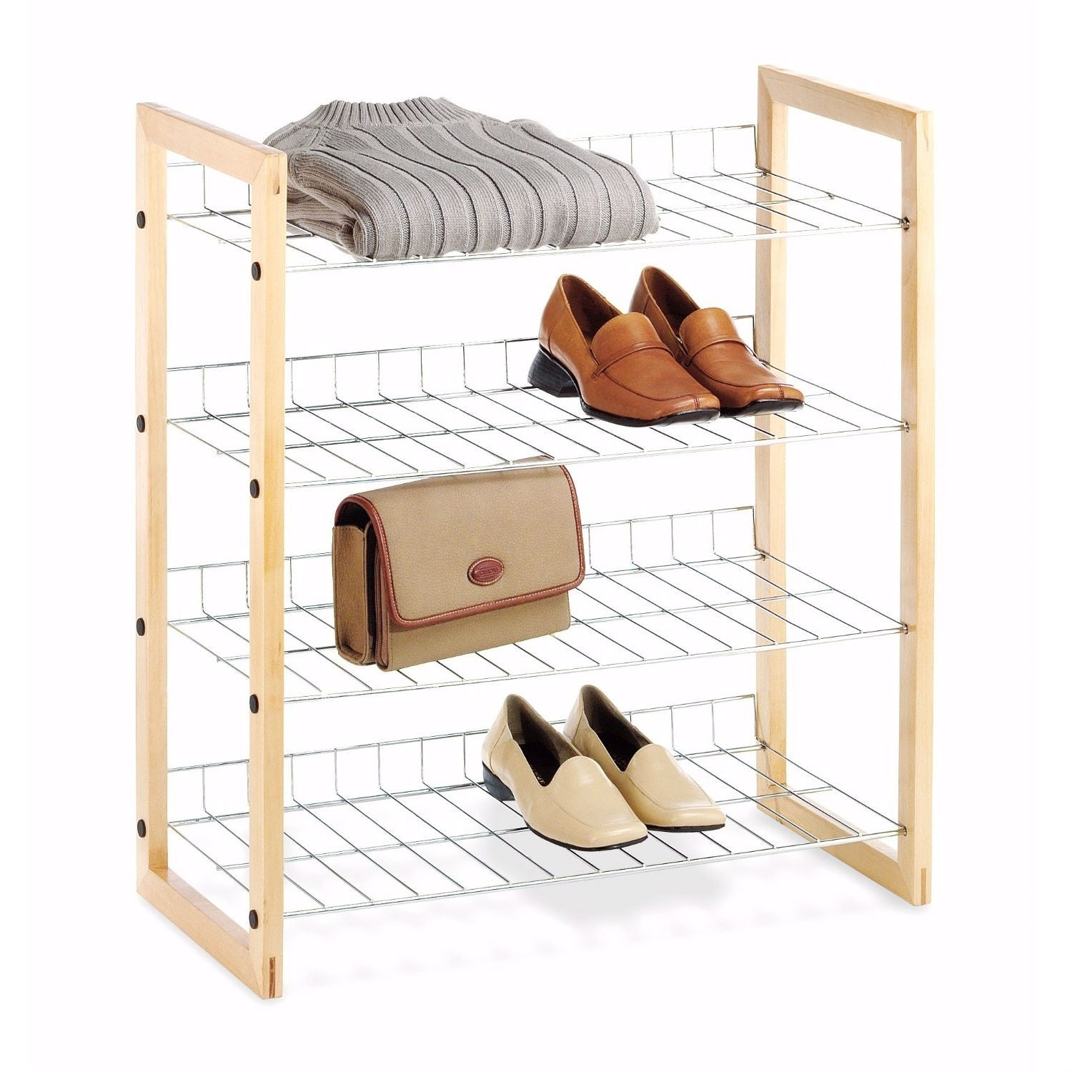 Shop Black Friday Deals On 4 Shelf Closet Shoe Rack With Natural Wood Frame And Chrome Wire Shelves Overstock 29063668